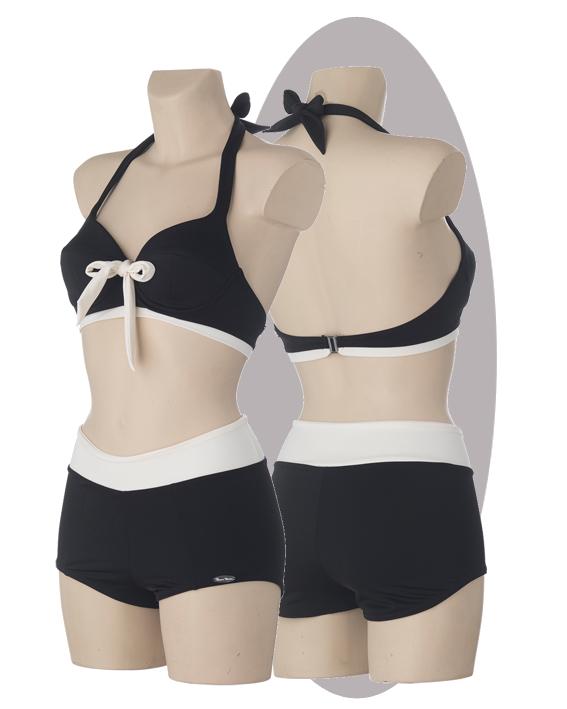 Bikini, black ivory strip and bow