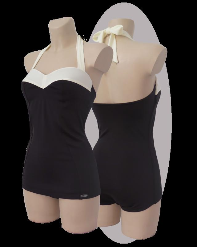 Bathing suit, black & white top