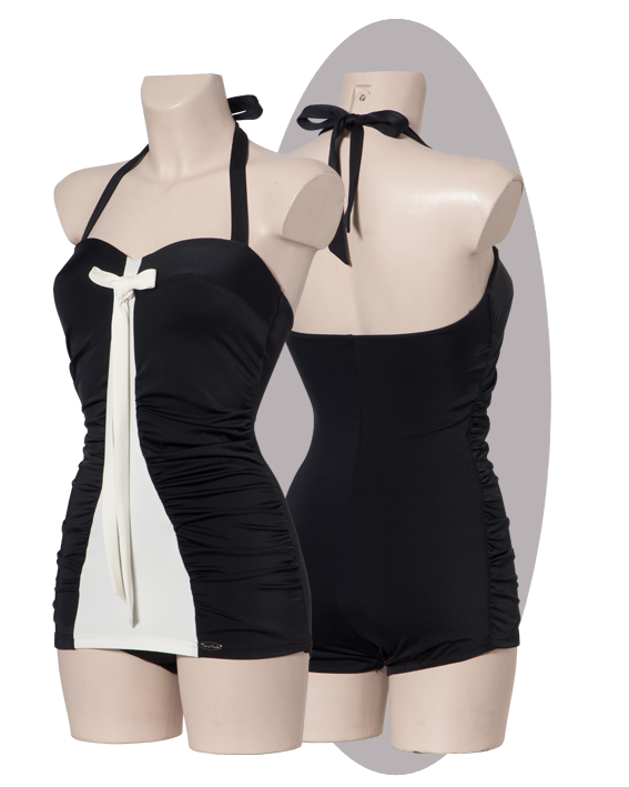 Bathing suit in black- ivory with pleated side parts, long bow.