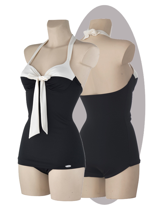 Bathing suit black-ivory, pleated cups, bow
