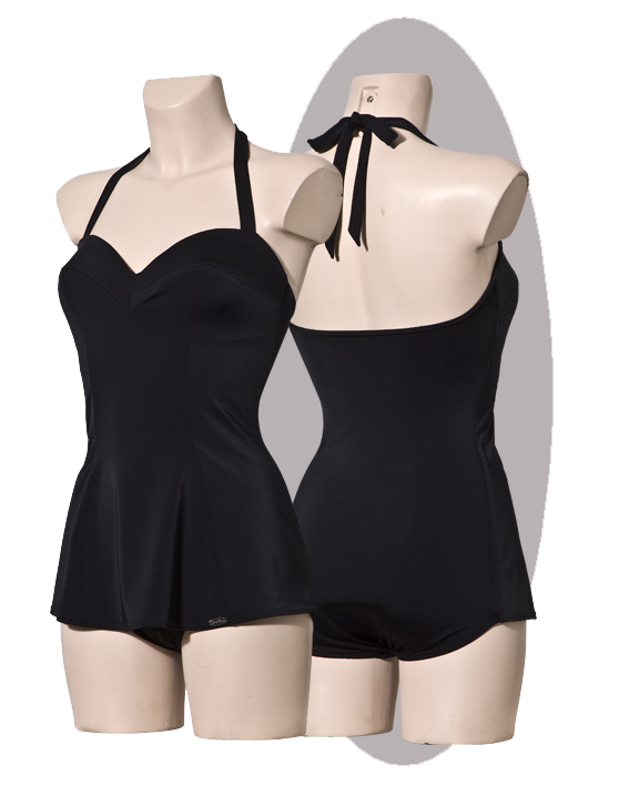 Bathing suit with a whide apron, black.