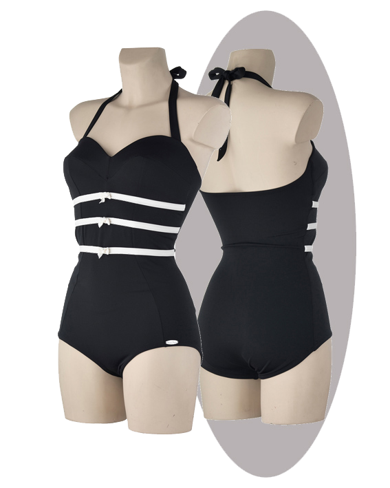 Bathing suit, black,  3 small bows