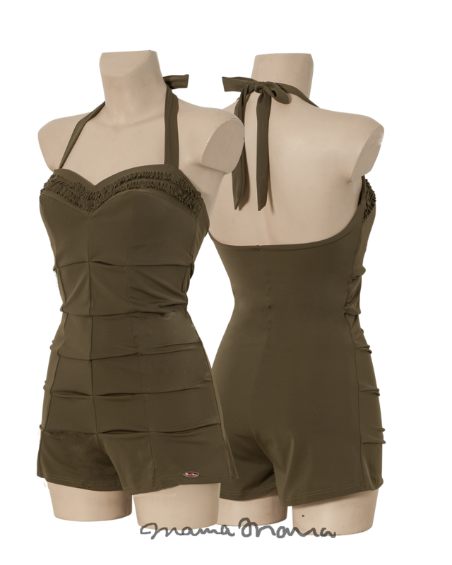 Bathing suit shorty, pleated front, ruffles