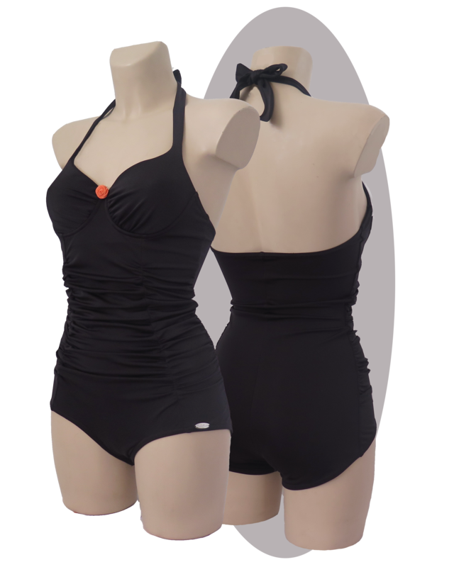 Bathing suit, black, pleated cups and front