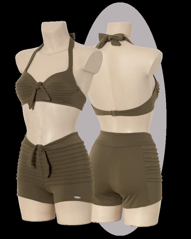 Bikini with stitched lines, safari green.