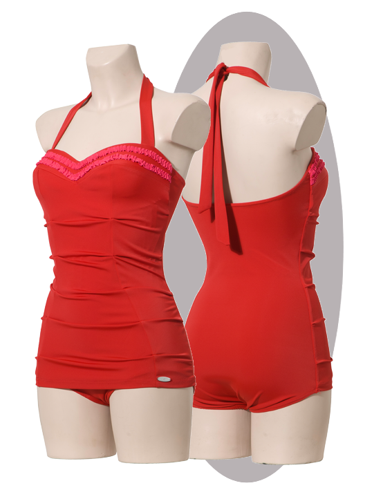 Bathing suit in red, pleated apron, pink ruffles.