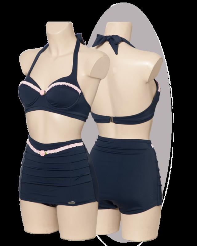 Bikini, marine with pink ruffles, high pants skirted.