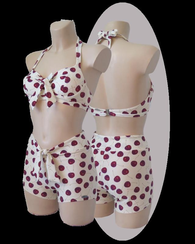 Bikini, red cherries print, with shorts, bows