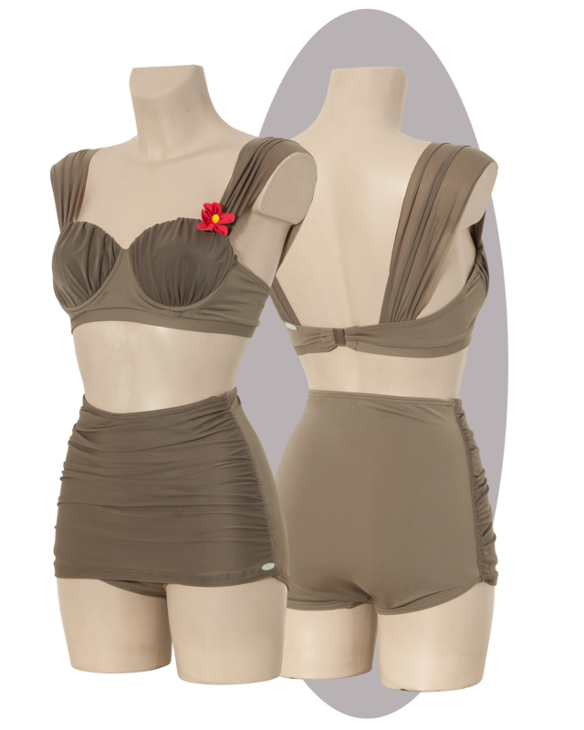 Bikini in taupe, high waisted pants, pleated cups and front.