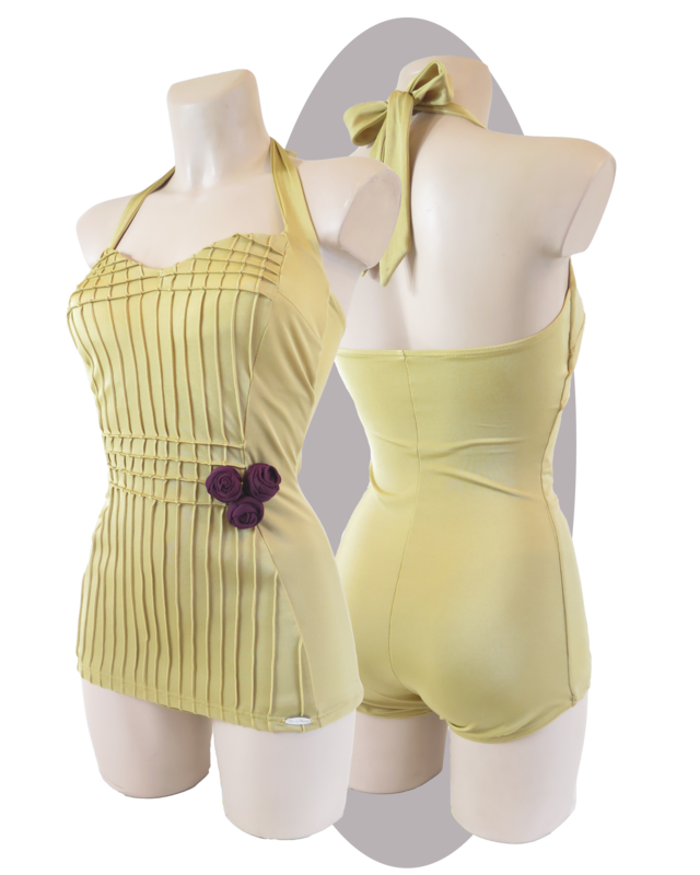 Bathing suit, with apron, stitched, golden