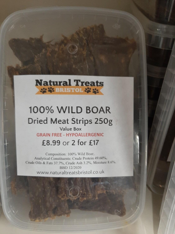 100% Dried Wild Boar Meat Strips 200g