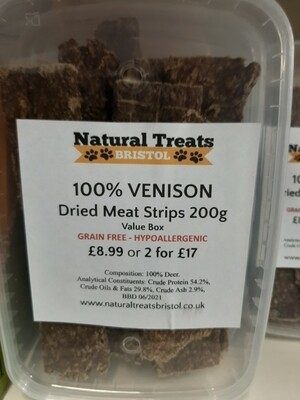 100% Dried Venison Meat Strips 200g