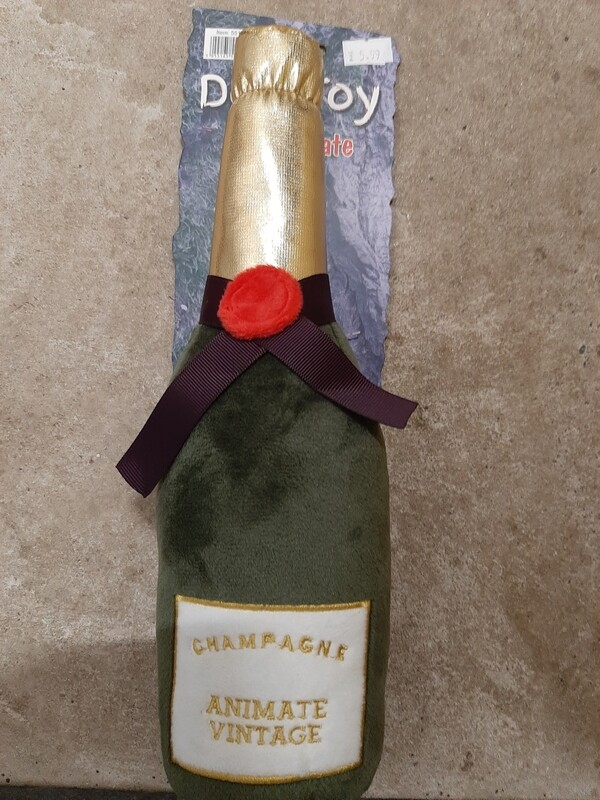 Champagne bottle soft dog toy
