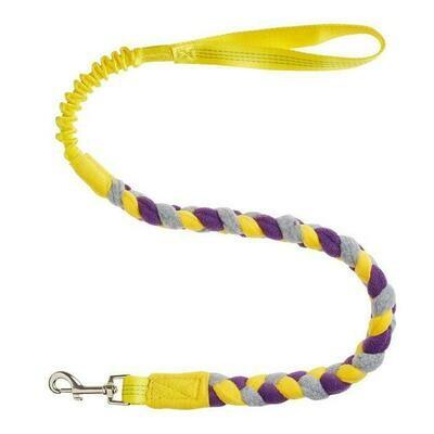 Bungee Fleece Tuggy Lead - Yellow Handle