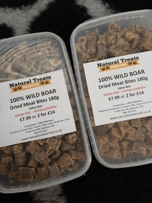 100% Dried Wild Boar Meat Bites 180g
