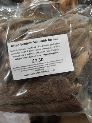 Dried Venison Skin with fur 300g
