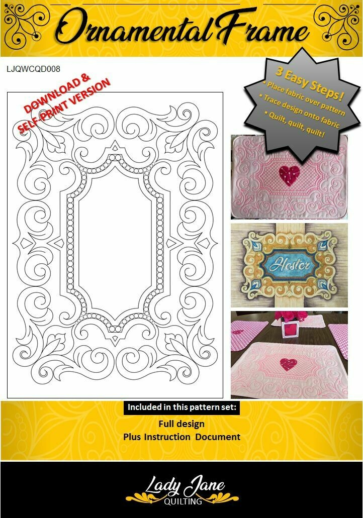 ORNAMENTAL FRAME - Download & Self-print Wholecloth Quilt Design