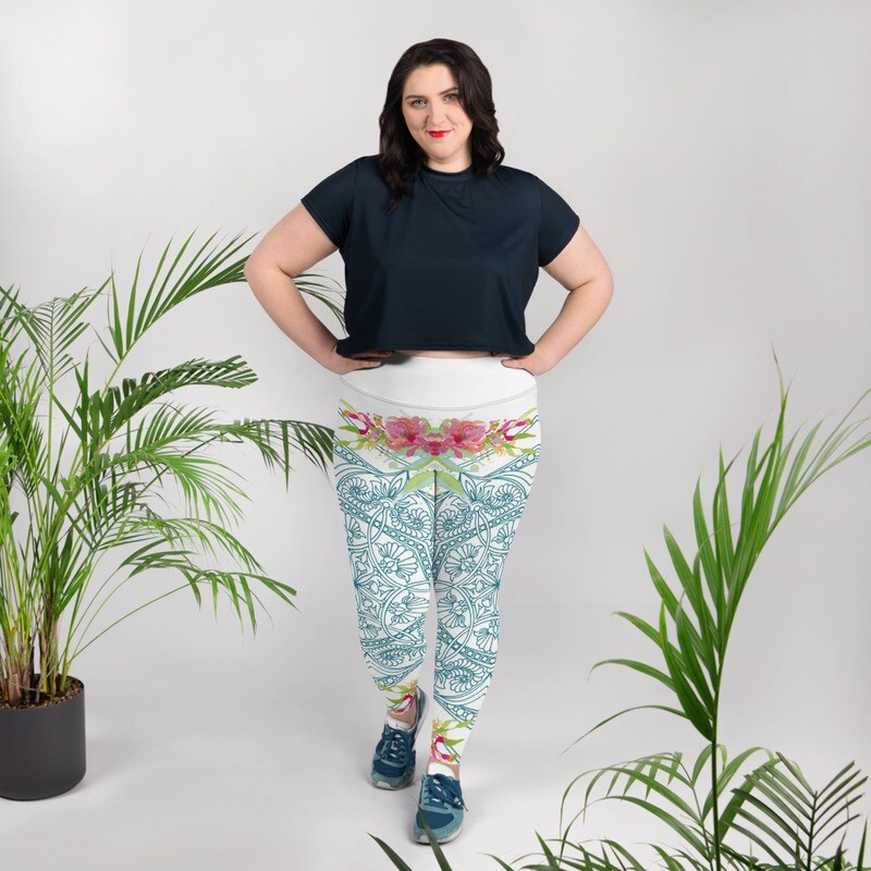 All-Over Print Plus Size Leggings - Kelly Spring