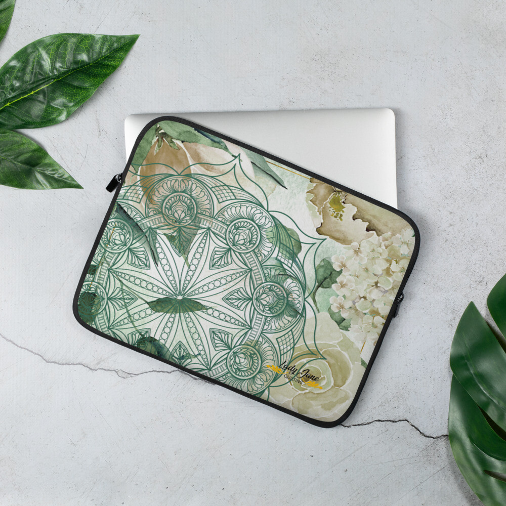 Laptop Sleeve - Wendy Rose Green