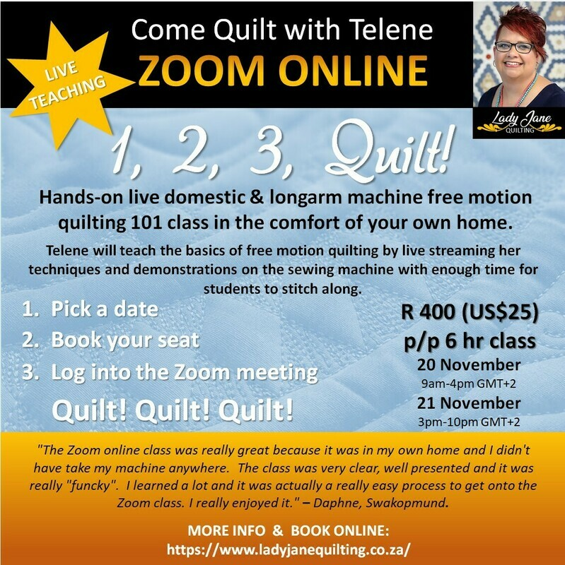1, 2, 3, Quilt! Zoom from Home Class - ENGLISH CLASS