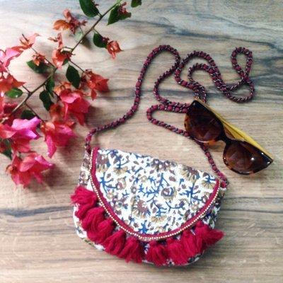 Handcrafted Boho Floral Tassell Sling Bag
