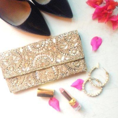 Handcrafted Embellished Golden Evening Clutch