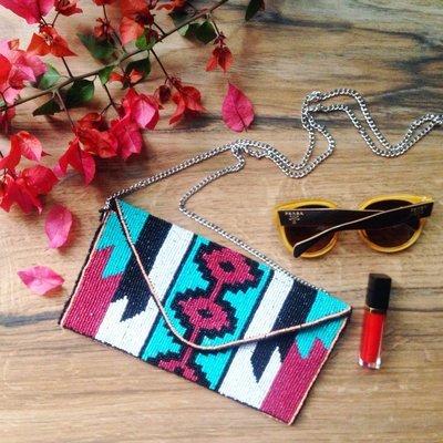 Handcrafted Embellished Blue & Red Tribal Design Clutch