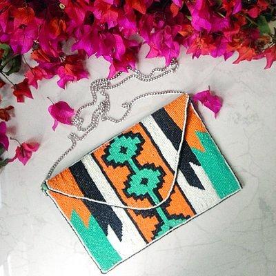 Handcrafted Over Sized Embellished Green & Orange Tribal Design Clutch