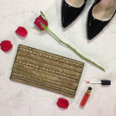 Handcrafted Bronzed Brown Embellished Clutch