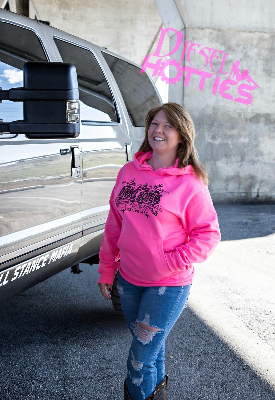 Hooded sweatshirt (neon pink)