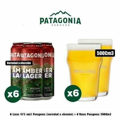 6 Latas Patagonia 473Cm3 + 6 Vasos 500Cc