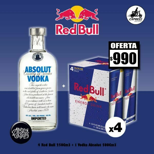 ESPECIAL RED BULL-4 Red Bull 250Cm3 + Absolut 500Cm3 -Op. Express