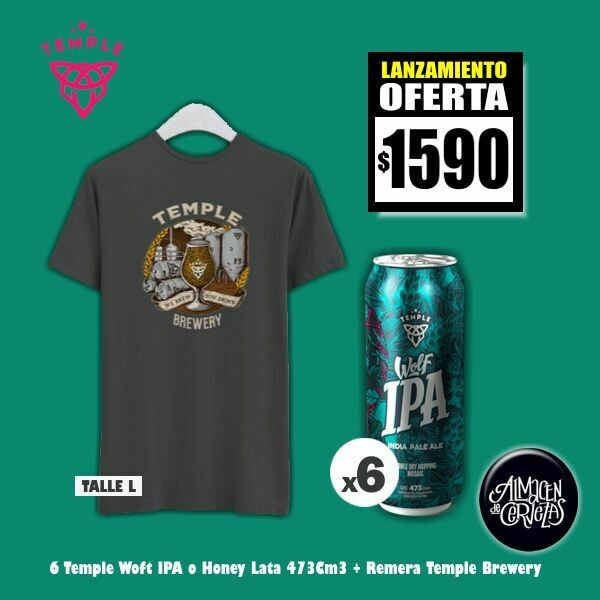 6 Temple Lata 473 + Remera Temple Brewery (L)