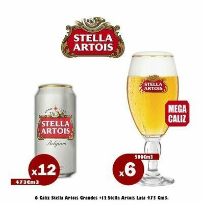 6 Mega Caliz 500 + 12 Latas Stella 473Cm3