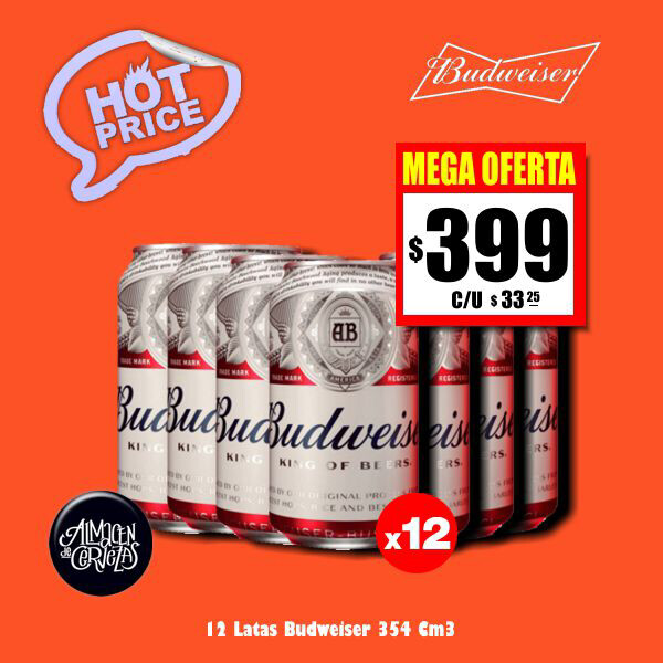 HOT PRICE - 12 Budweiser 354Cm3