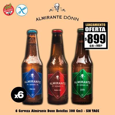LANZAMIENTO - Cerveza Almirante - SIN TACC - 6 Botellas 330Cm3