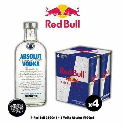 4 Red Bull 250Cm3 + Absolut 500Cm3 -Op. Express