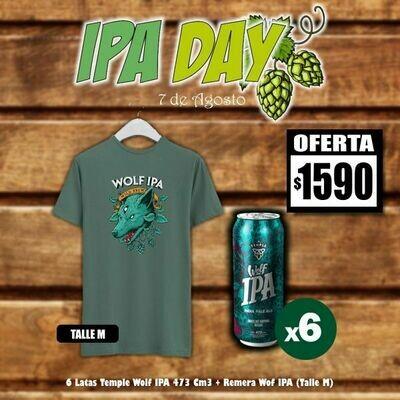 IPA DAY - 6 Lata Temple Wolf IPA + Remera Wolf IPA (Talle M)