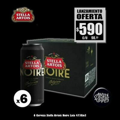 LANZAMIENTO - 6 Stella Artois NOIRE Lata 473Cm3