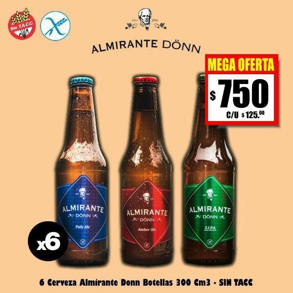 MEGA OFERTA - Cerveza Almirante - SIN TACC - 6 Botellas 330Cm3
