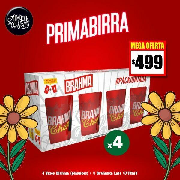 PRIMABIRRA- 4 Vasos Brahma + 4 Latas Brahma 473Cm3