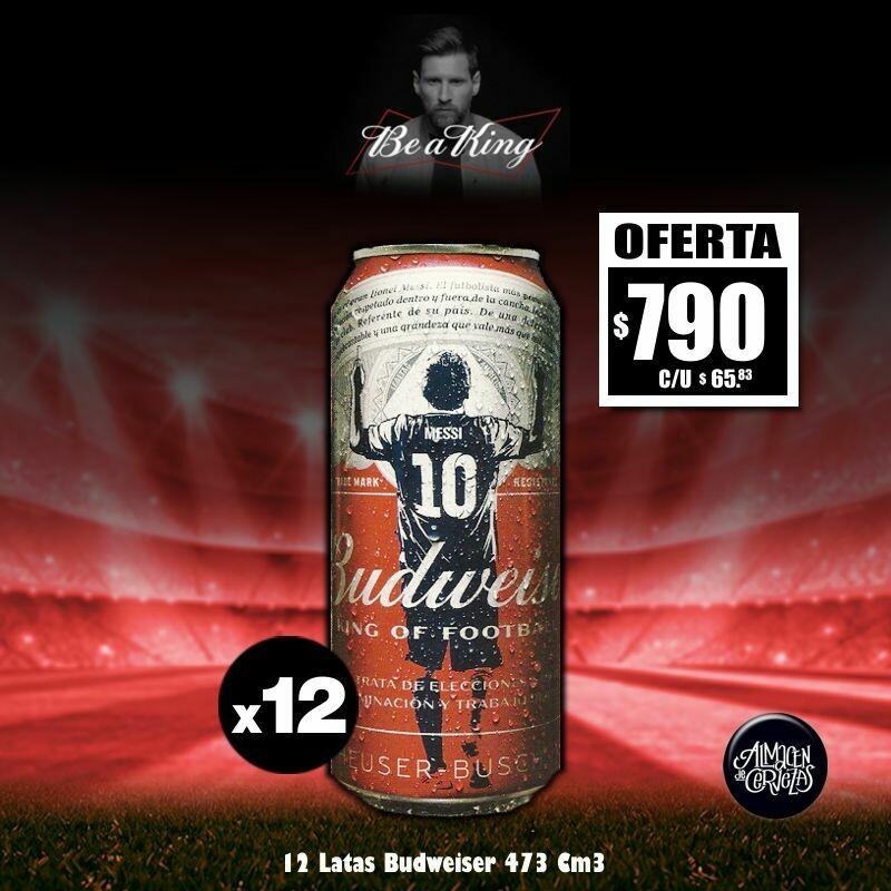 LANZAMIENTO -Budweiser Edición MESSI Lata 473 Cm3 x12. Op.Express