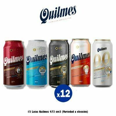 Lata Quilmes 473 Cm3 x12. Variedad a elección.