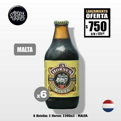 MALTA - 6 Botellas 3 Horses Malt 330Cm3