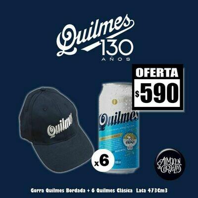 QUILMES 130 Años -Gorra + 6 Latas Quilmes Clásica