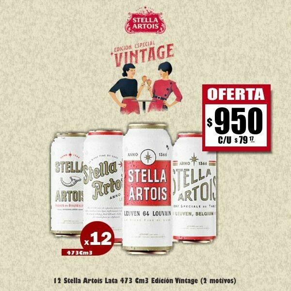OFERTA - 12 Stella Artois Lata 473Cm3 Edición Vintage