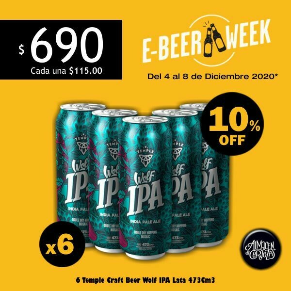 E-BEER-WEEK - 6 Temple Wolf IPA Lata 473Cm3.