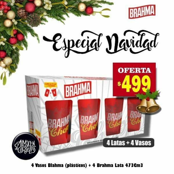 ESPECIAL NAVIDAD - 4 Vasos Brahma + 4 Latas Brahma 473Cm3