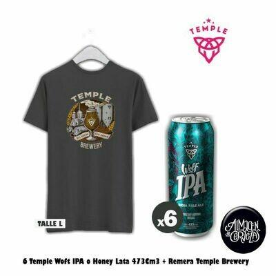6 Temple Lata 473 + Remera Temple Brewery (L)