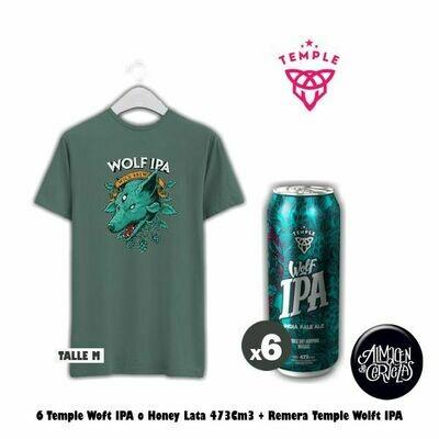 6 Lata Temple Wolf IPA + Remera Wolf IPA (Talle M)